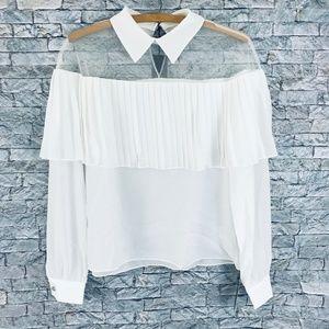 Storets Cori Ruffle Blouse White Size S/M NEW
